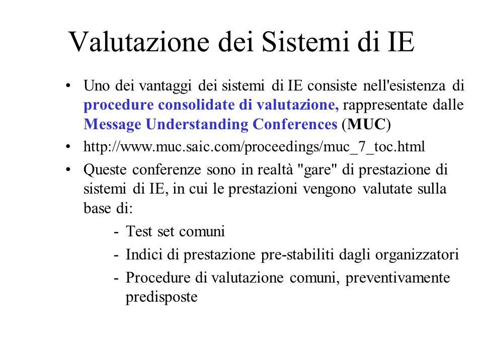 Valutazione dei Sistemi di IE Uno dei vantaggi dei sistemi di IE consiste nell esistenza di procedure consolidate di valutazione, rappresentate dalle Message Understanding Conferences (MUC) http://www.muc.saic.com/proceedings/muc_7_toc.html Queste conferenze sono in realtà gare di prestazione di sistemi di IE, in cui le prestazioni vengono valutate sulla base di: -Test set comuni -Indici di prestazione pre-stabiliti dagli organizzatori -Procedure di valutazione comuni, preventivamente predisposte