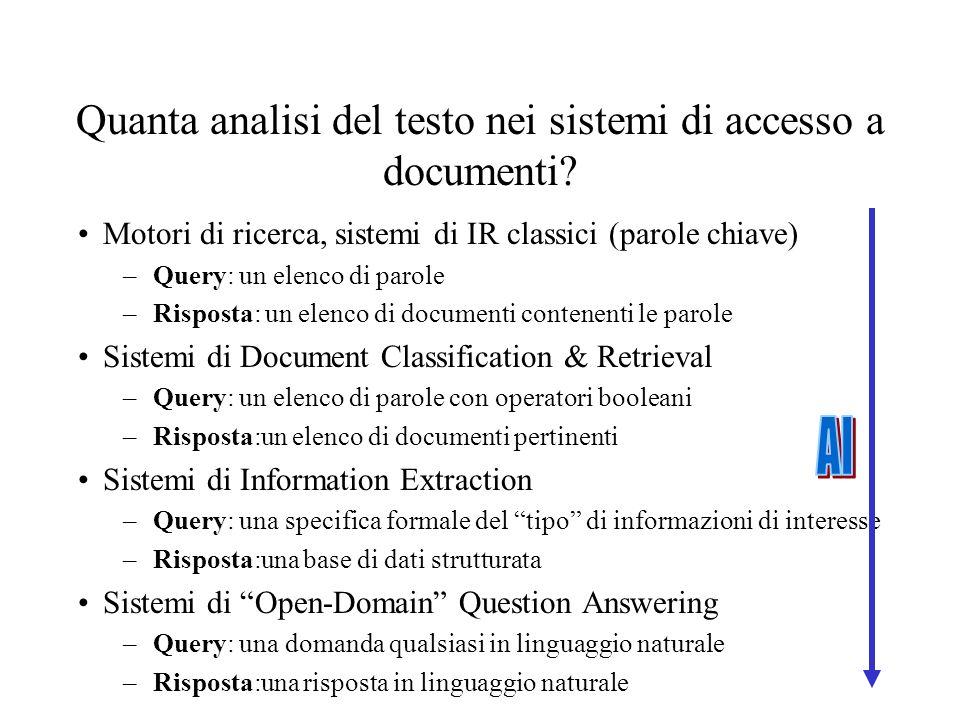 Quanta analisi del testo nei sistemi di accesso a documenti.