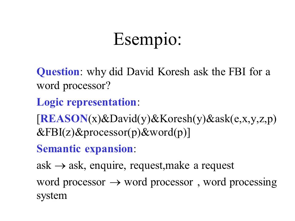 Esempio: Question: why did David Koresh ask the FBI for a word processor.