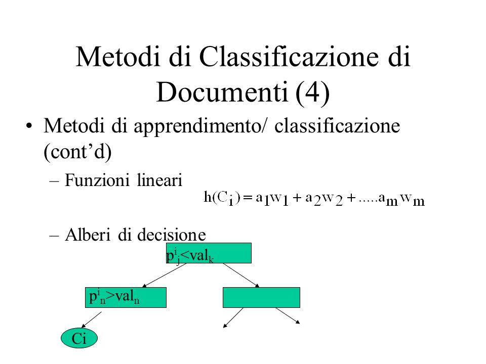 Metodi di Classificazione di Documenti (4) Metodi di apprendimento/ classificazione (contd) –Funzioni lineari –Alberi di decisione p i j <val k p i n >val n Ci