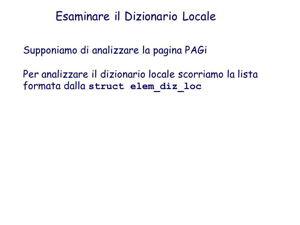 Esaminare il Dizionario Locale Supponiamo di analizzare la pagina PAGi Per analizzare il dizionario locale scorriamo la lista formata dalla struct ele