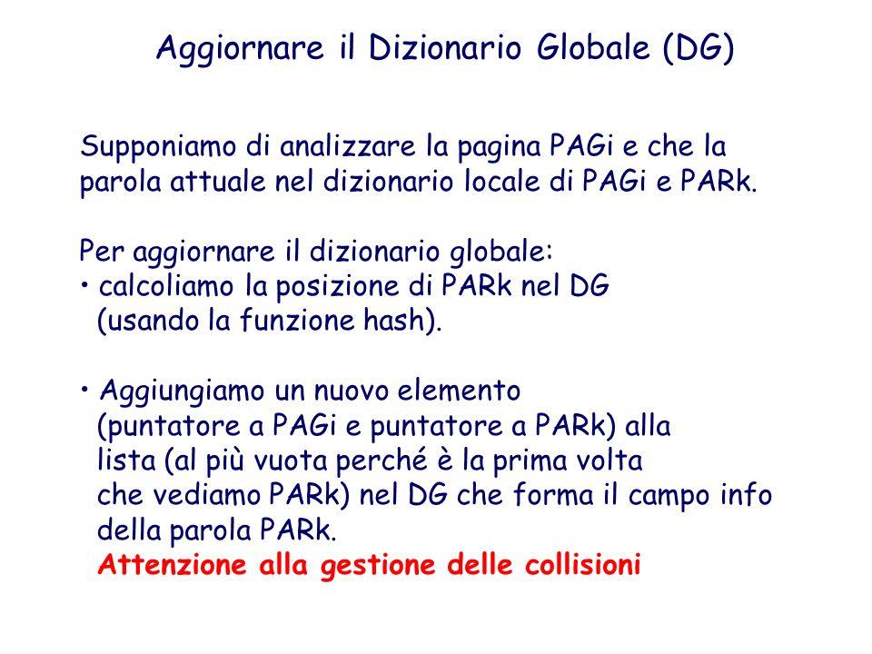 Aggiornare il Dizionario Globale (DG) Supponiamo di analizzare la pagina PAGi e che la parola attuale nel dizionario locale di PAGi e PARk. Per aggior