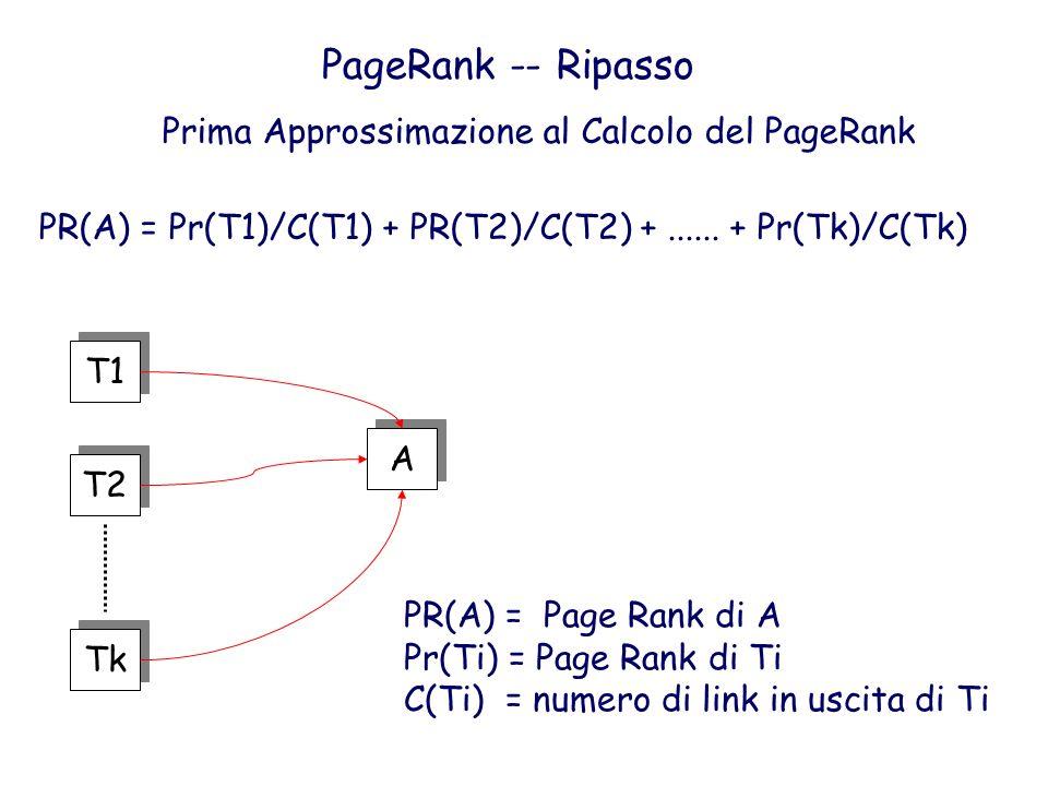 PageRank -- Ripasso Prima Approssimazione al Calcolo del PageRank T1 T2 Tk A A PR(A) = Pr(T1)/C(T1) + PR(T2)/C(T2) +...... + Pr(Tk)/C(Tk) PR(A) = Page