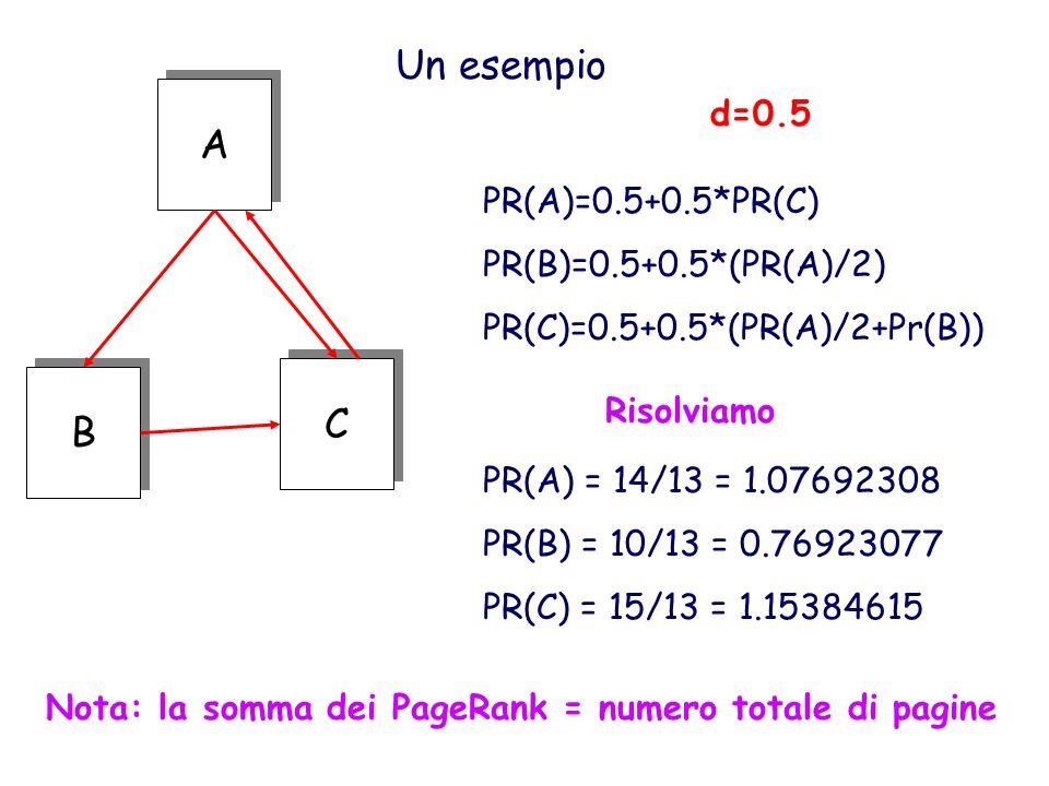 Un esempio A A C C B B d=0.5 PR(A)=0.5+0.5*PR(C) PR(B)=0.5+0.5*(PR(A)/2) PR(C)=0.5+0.5*(PR(A)/2+Pr(B)) PR(A) = 14/13 = 1.07692308 PR(B) = 10/13 = 0.76