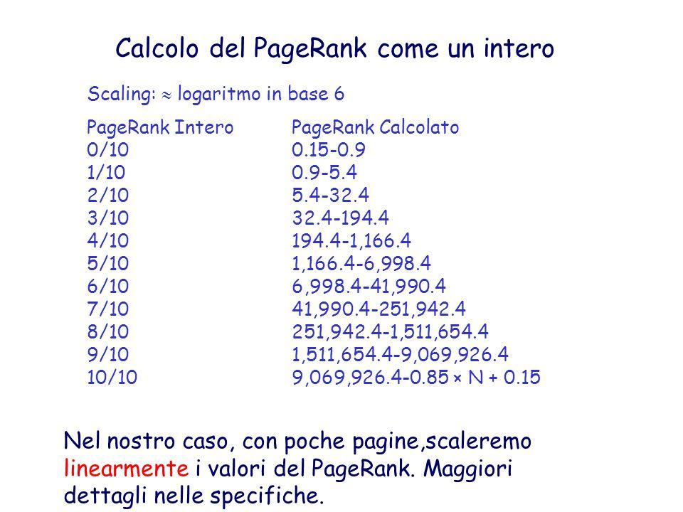 Calcolo del PageRank come un intero Nel nostro caso, con poche pagine,scaleremo linearmente i valori del PageRank. Maggiori dettagli nelle specifiche.