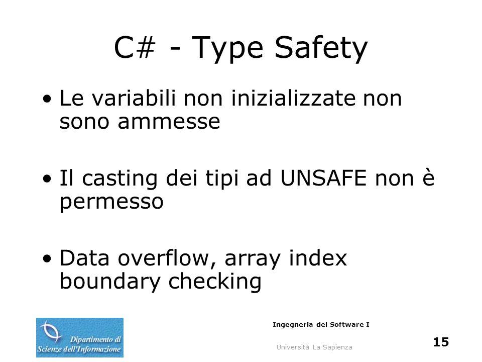 Università La Sapienza Ingegneria del Software I 15 C# - Type Safety Le variabili non inizializzate non sono ammesse Il casting dei tipi ad UNSAFE non è permesso Data overflow, array index boundary checking