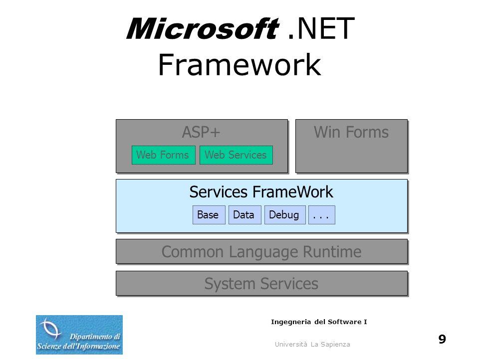 Università La Sapienza Ingegneria del Software I 9 Microsoft.NET Framework System Services Common Language Runtime Services FrameWork BaseDataDebug...