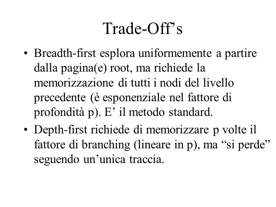 Trade-Offs Breadth-first esplora uniformemente a partire dalla pagina(e) root, ma richiede la memorizzazione di tutti i nodi del livello precedente (è