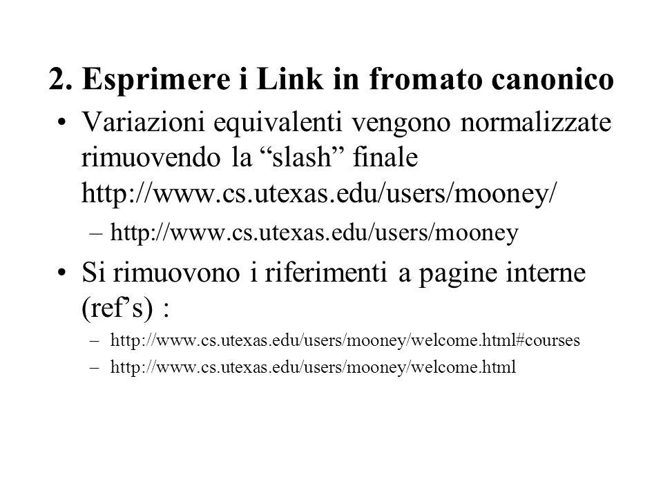 2. Esprimere i Link in fromato canonico Variazioni equivalenti vengono normalizzate rimuovendo la slash finale http://www.cs.utexas.edu/users/mooney/
