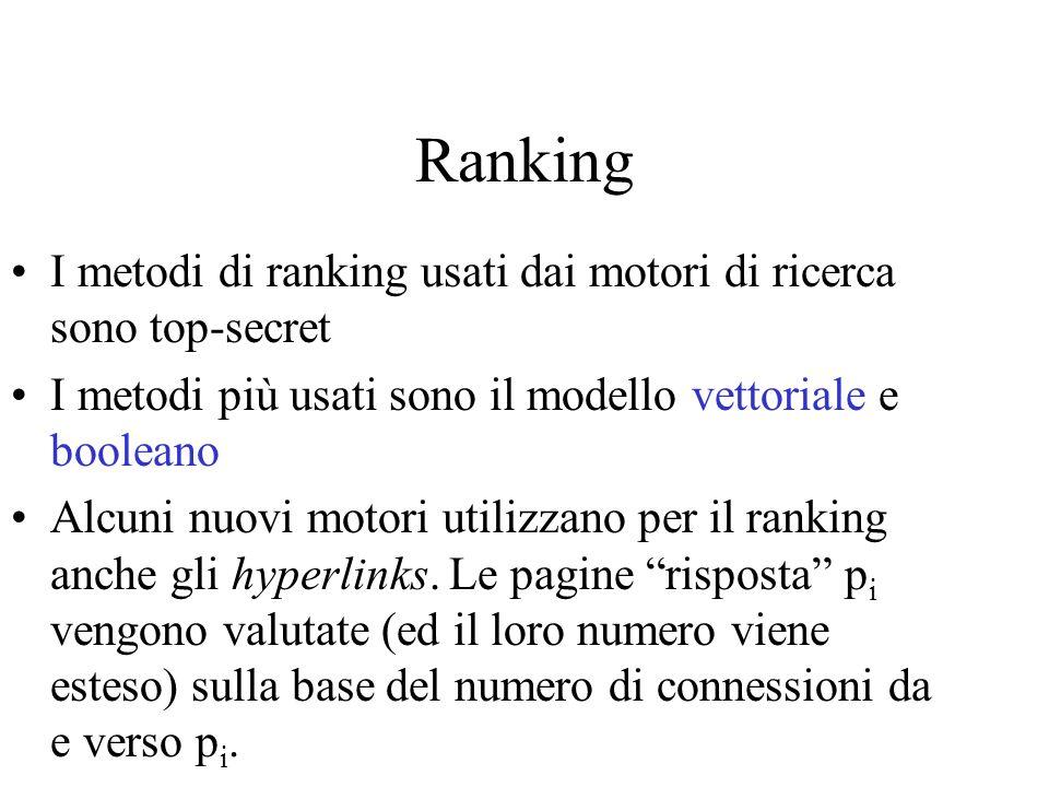 Ranking I metodi di ranking usati dai motori di ricerca sono top-secret I metodi più usati sono il modello vettoriale e booleano Alcuni nuovi motori u
