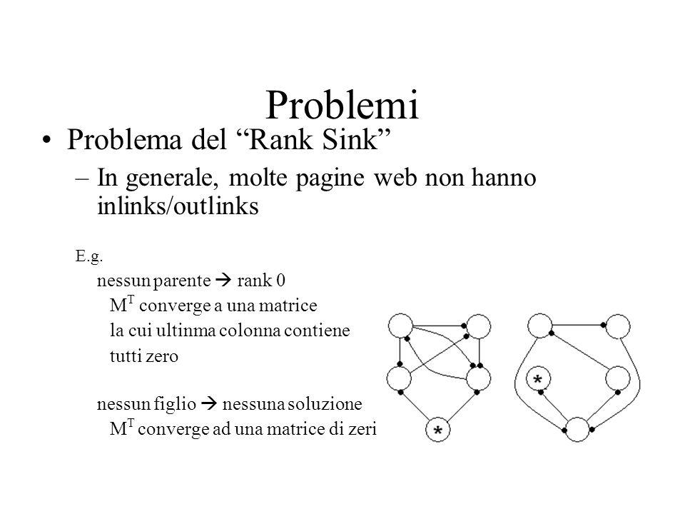 Problemi Problema del Rank Sink –In generale, molte pagine web non hanno inlinks/outlinks E.g. nessun parente rank 0 M T converge a una matrice la cui