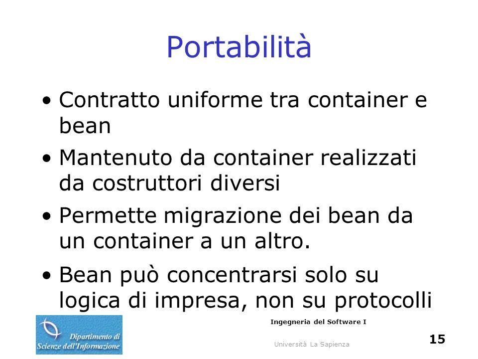 Università La Sapienza Ingegneria del Software I 15 Portabilità Contratto uniforme tra container e bean Mantenuto da container realizzati da costruttori diversi Permette migrazione dei bean da un container a un altro.