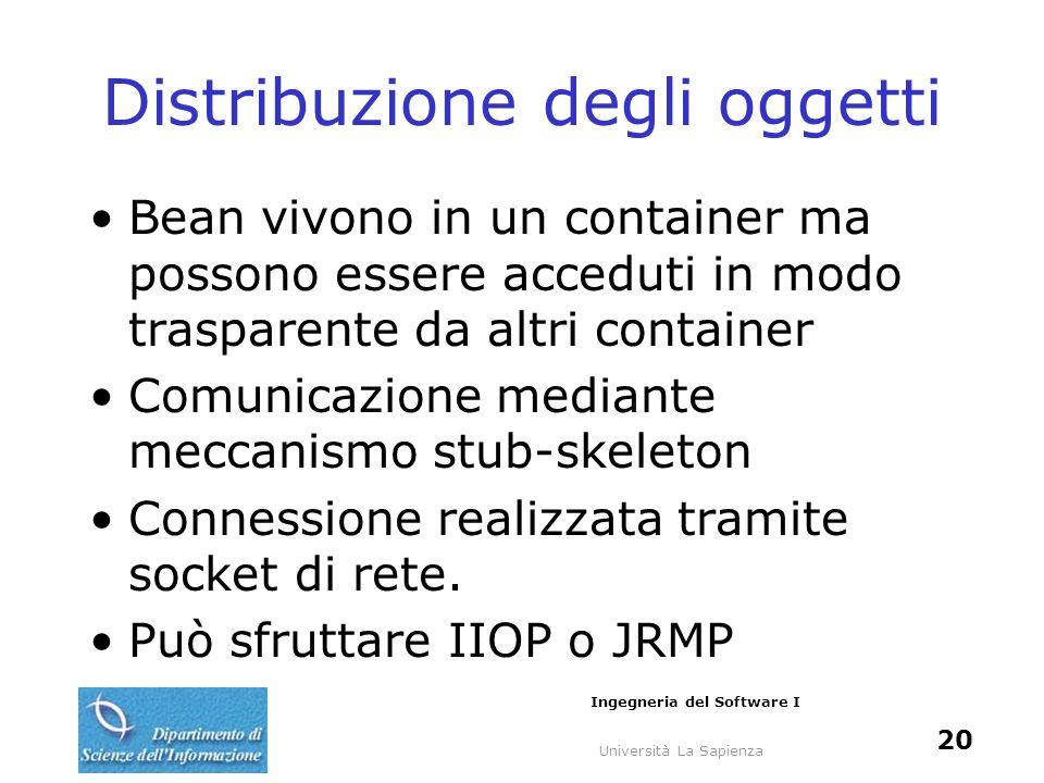 Università La Sapienza Ingegneria del Software I 20 Distribuzione degli oggetti Bean vivono in un container ma possono essere acceduti in modo trasparente da altri container Comunicazione mediante meccanismo stub-skeleton Connessione realizzata tramite socket di rete.