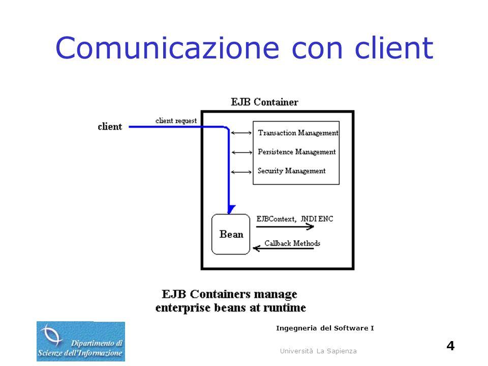 Università La Sapienza Ingegneria del Software I 4 Comunicazione con client