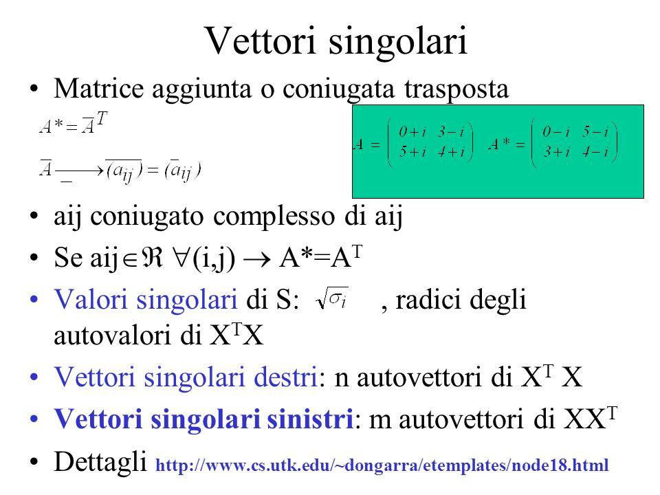 Vettori singolari Matrice aggiunta o coniugata trasposta aij coniugato complesso di aij Se aij (i,j) A*=A T Valori singolari di S:, radici degli autovalori di X T X Vettori singolari destri: n autovettori di X T X Vettori singolari sinistri: m autovettori di XX T Dettagli http://www.cs.utk.edu/~dongarra/etemplates/node18.html