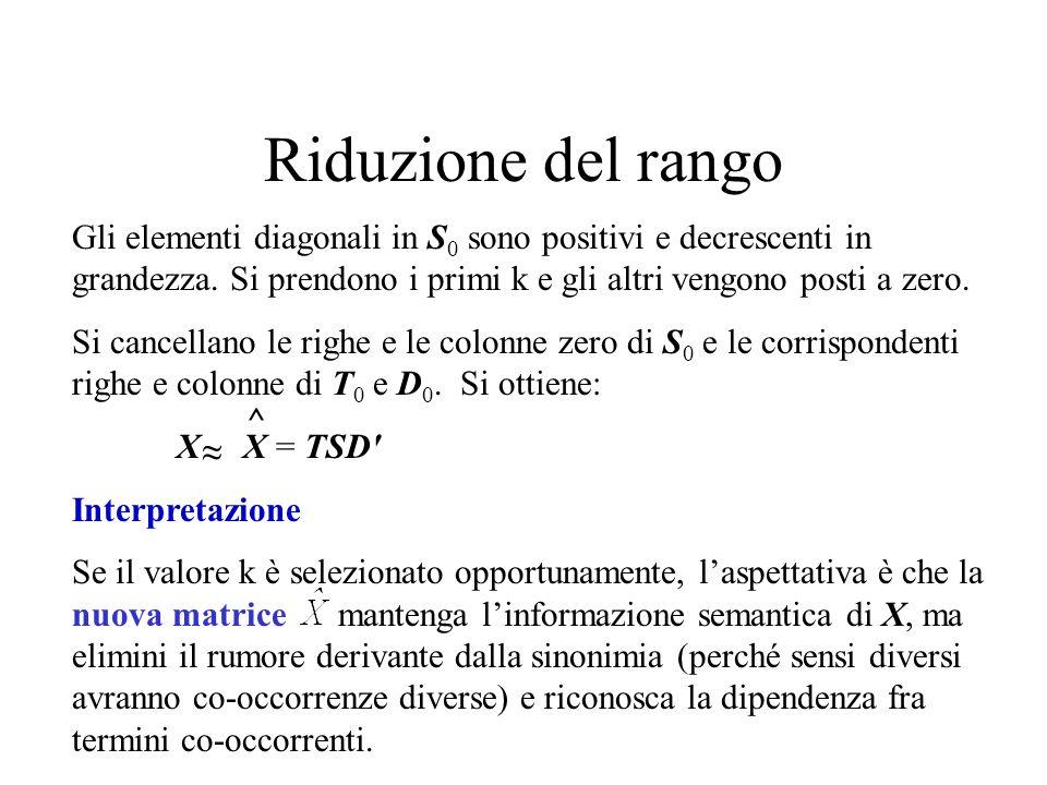 Riduzione del rango Gli elementi diagonali in S 0 sono positivi e decrescenti in grandezza.
