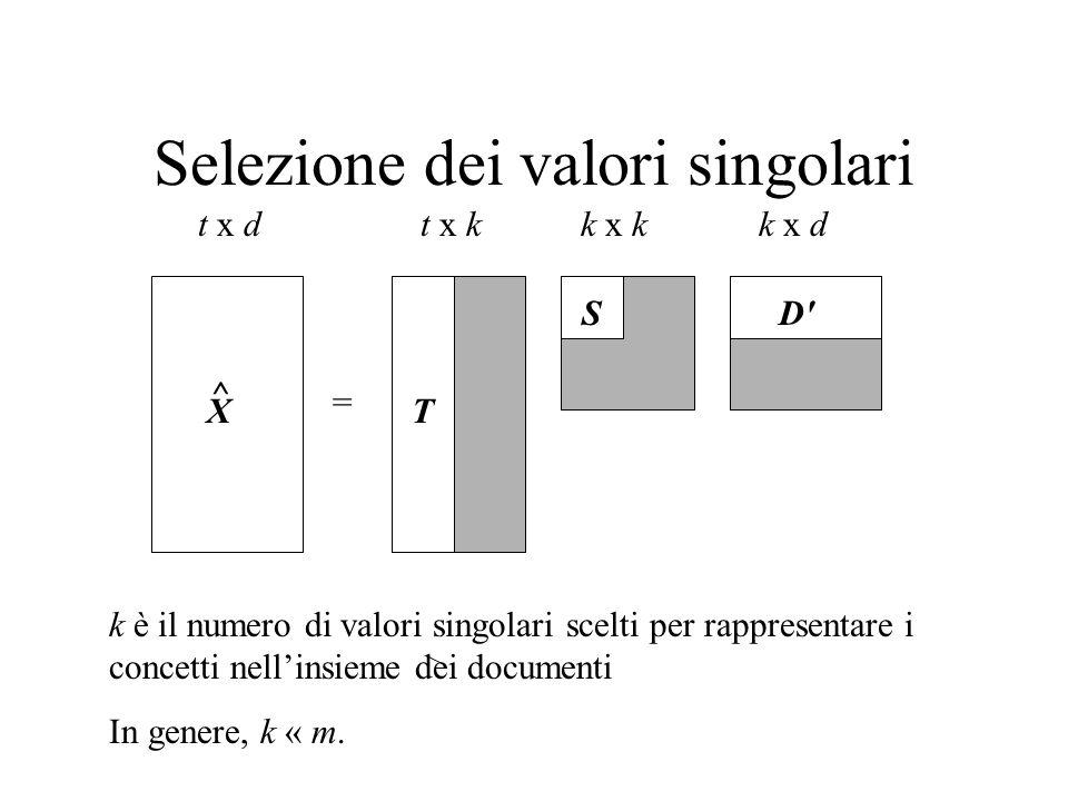 Selezione dei valori singolari X = t x dt x kk x dk x k k è il numero di valori singolari scelti per rappresentare i concetti nellinsieme dei documenti In genere, k « m.