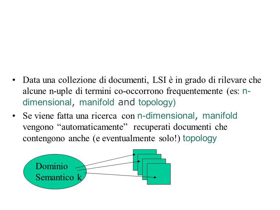 Osservazione La maggioranza delle celle della matrice sono zero La dimensionalità della matrice è elevata (t) Con i metodi classici ogni documento o query è un vettore in uno spazio t-dimensionale LSI tenta di proiettare questo spazio in uno spazio di dimensione ridotta, in cui, anziché termini, le dimensioni rappresentano co-occorrenze o dominii semantici Tutte le possibili co-occorrenze sarebbero assai di più dei termini singoli: ma il metodo della singular value decomposition utilizzato da LSI consente di eliminare le co-occorrenze non significative