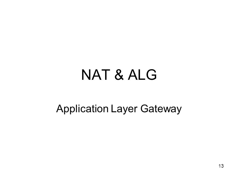 13 NAT & ALG Application Layer Gateway