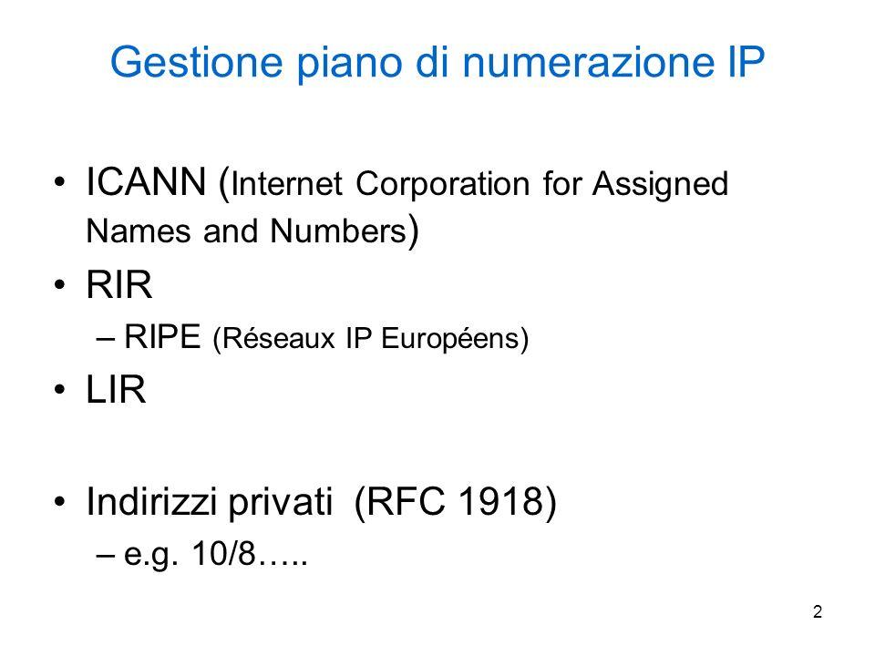3 Esempio di utilizzo di indirizzi privati 10.3.0.0/16 10.2.0.0/16 10.1.1.0/24 10.1.254.0/24 10.0.0.0/14 10.0.0.0 mask 255.252.0.0 Rete IP pubblica R NAT R NAT R NAT R NAT