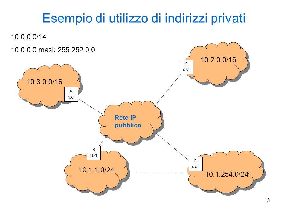 4 NAT come forma di sicurezza rudimentale 10.3.0.0/16 R NAT Rete IP pubblica 82.53.100.1