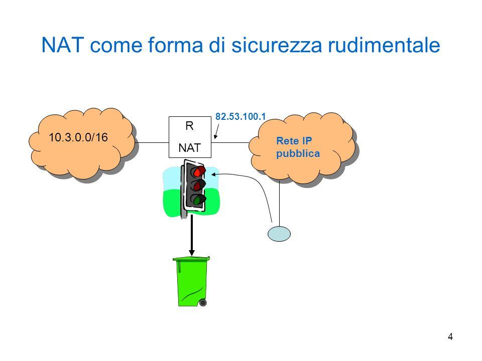 15 NAT 1 ip nat pool iga 140.16.10.1 140.16.10.254 netmask 255.255.255.0 ip nat inside source list 1 nat pool iga access-list 1 permit 10.0.0.0 0.255.255.255 ip nat inside source static 10.20.20.10 140.16.10.254 NAT2 ip nat pool iga 193.17.15.1 193.17.15.254 netmask 255.255.255.0 ip nat inside source list 1 nat pool iga access-list 1 permit 10.0.0.0 0.255.255.255 ip nat inside source static 10.20.20.10 193.17.15.250 Boot file primary foo.com db.foo primary 10.in-addr.arpa db.10 forwarders 128.9.0.107 options forward-only \ (OG) DNS 128.9.0.107 IL 10.0.0.0/8 DNS primario di foo.com (ns.foo.com) 10.20.20.10 NAT2 ISP 2 OG 193.17/16 IG 193.17.15/24 IG 140.16.10/24 NAT1 ISP 1 OG 140.16/16 ns.foo.com è DNS autoritativo per foo.com gli host della rete 10.0.0.0/8 usano ns.foo.com per tutte le query DNS ns.foo.com effettua il forward delle query DNS verso 128.9.0.107 Db.foo file ; Name Servers foo.com.