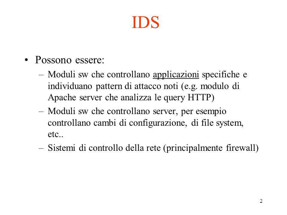 2 IDS Possono essere: –Moduli sw che controllano applicazioni specifiche e individuano pattern di attacco noti (e.g. modulo di Apache server che anali