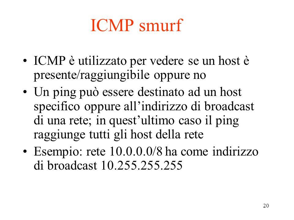 20 ICMP smurf ICMP è utilizzato per vedere se un host è presente/raggiungibile oppure no Un ping può essere destinato ad un host specifico oppure alli