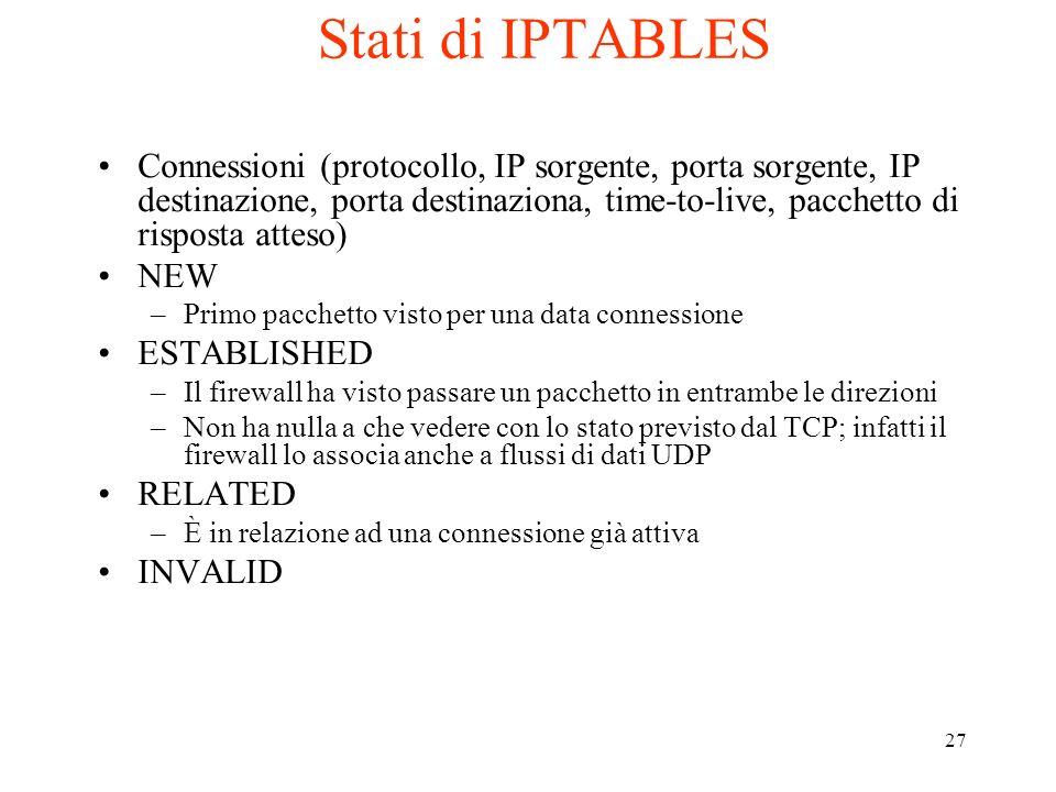 27 Stati di IPTABLES Connessioni (protocollo, IP sorgente, porta sorgente, IP destinazione, porta destinaziona, time-to-live, pacchetto di risposta at