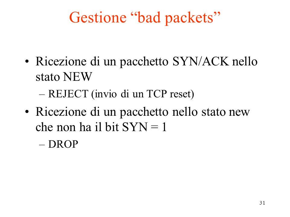 31 Gestione bad packets Ricezione di un pacchetto SYN/ACK nello stato NEW –REJECT (invio di un TCP reset) Ricezione di un pacchetto nello stato new ch