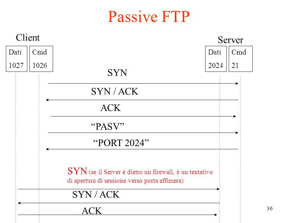 36 Client Server SYN ACK SYN / ACK Passive FTP Dati 1027 Cmd 1026 Dati 2024 Cmd 21 PASV PORT 2024 SYN (se il Server è dietro un firewall, è un tentati