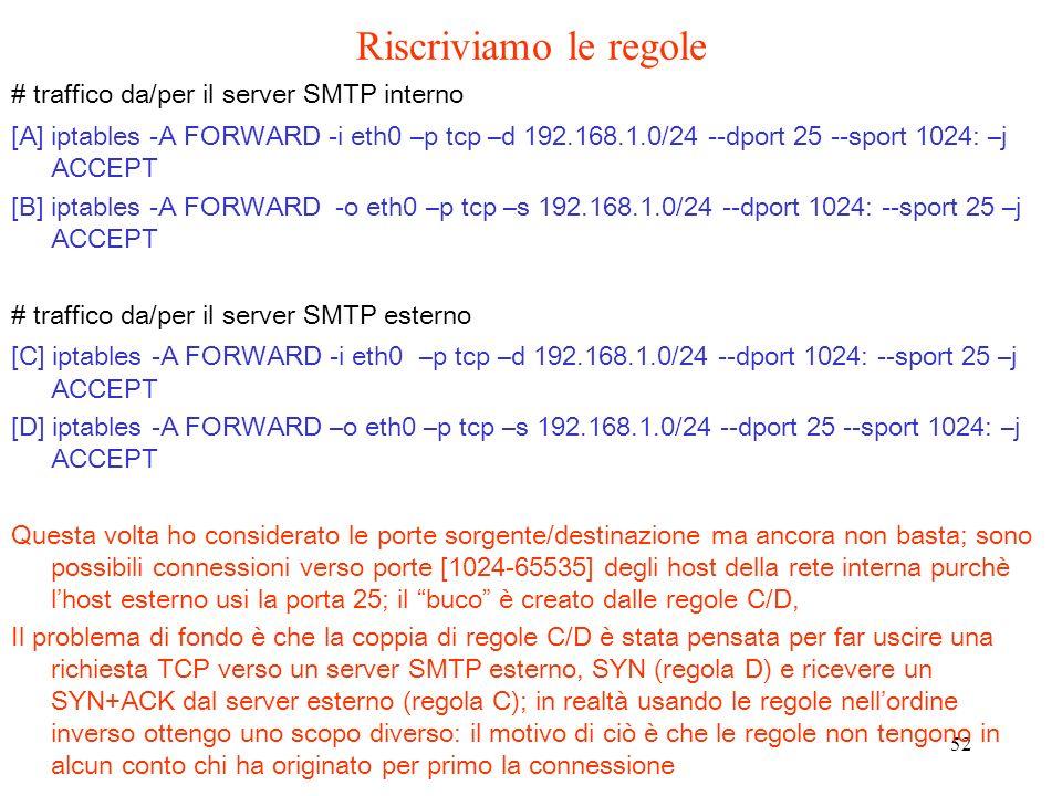 52 # traffico da/per il server SMTP interno [A] iptables -A FORWARD -i eth0 –p tcp –d 192.168.1.0/24 --dport 25 --sport 1024: –j ACCEPT [B] iptables -