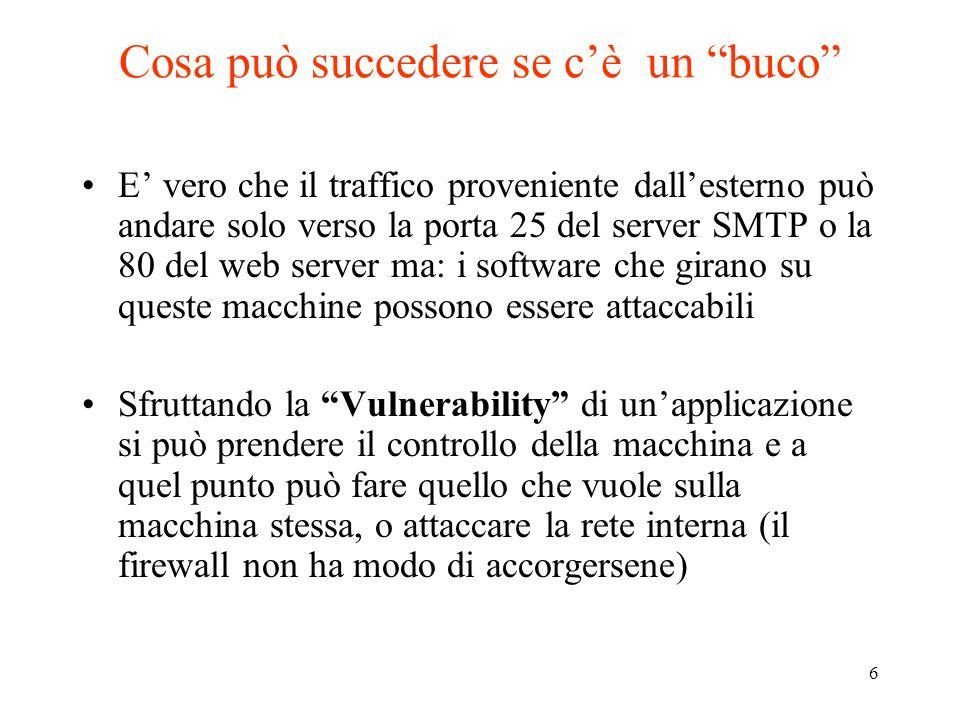 6 Cosa può succedere se cè un buco E vero che il traffico proveniente dallesterno può andare solo verso la porta 25 del server SMTP o la 80 del web se
