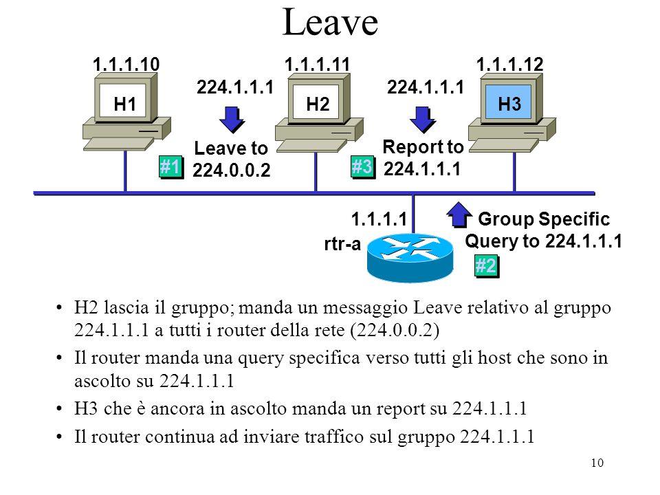 10 Leave H2 lascia il gruppo; manda un messaggio Leave relativo al gruppo 224.1.1.1 a tutti i router della rete (224.0.0.2) Il router manda una query specifica verso tutti gli host che sono in ascolto su 224.1.1.1 H3 che è ancora in ascolto manda un report su 224.1.1.1 Il router continua ad inviare traffico sul gruppo 224.1.1.1 1.1.1.1 H1 H2 H3 1.1.1.101.1.1.111.1.1.12 H2 Leave to 224.0.0.2 224.1.1.1 #1 Group Specific Query to 224.1.1.1 #2 Report to 224.1.1.1 #3 rtr-a