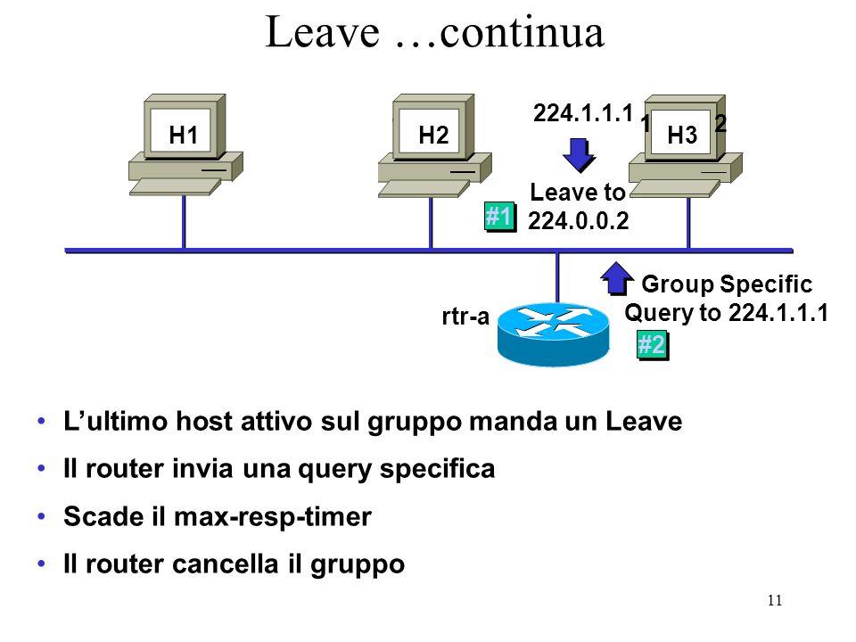 11 Leave …continua Lultimo host attivo sul gruppo manda un Leave Il router invia una query specifica Scade il max-resp-timer Il router cancella il gruppo H1 H3 1.1.1.111.1.1.12 H3 Leave to 224.0.0.2 224.1.1.1 #1 Group Specific Query to 224.1.1.1 #2 rtr-a H2