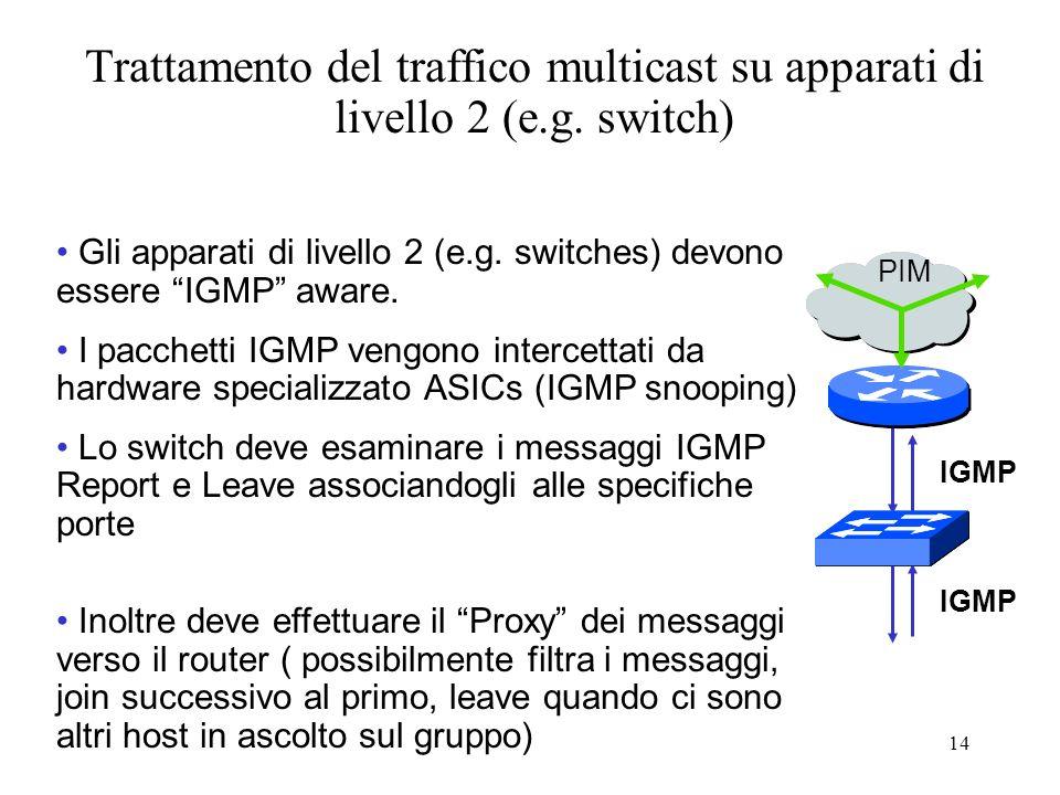 14 Gli apparati di livello 2 (e.g.switches) devono essere IGMP aware.