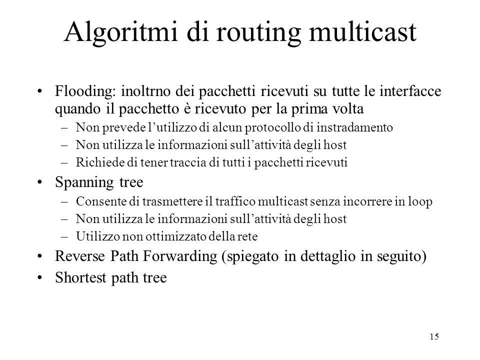 15 Algoritmi di routing multicast Flooding: inoltrno dei pacchetti ricevuti su tutte le interfacce quando il pacchetto è ricevuto per la prima volta –Non prevede lutilizzo di alcun protocollo di instradamento –Non utilizza le informazioni sullattività degli host –Richiede di tener traccia di tutti i pacchetti ricevuti Spanning tree –Consente di trasmettere il traffico multicast senza incorrere in loop –Non utilizza le informazioni sullattività degli host –Utilizzo non ottimizzato della rete Reverse Path Forwarding (spiegato in dettaglio in seguito) Shortest path tree