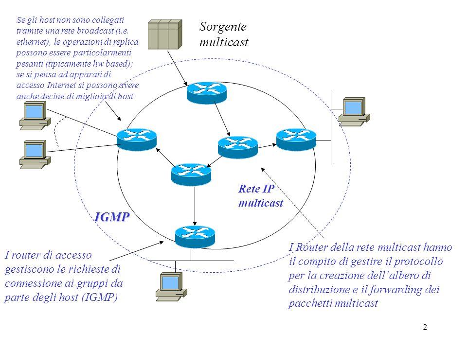 23 Tipi di protocollo multicast Differiscono dal modo in cui costruiscono e gestiscono il distribution tree (DT) Dense-mode (si assume unalta densità di ricevitori) Inizialmente effettua il flooding, i router non interessati chiedono di essere rimossi dal DT (prune) quando un ramo viene tagliato viene più inviato traffico dopo un tempo prestabilito, il ramo tagliato riceve nuovamente traffico e il router deve eventualmente richiedere il prune Sparse-mode (si assume che solo alcune zone saranno interessate alla trasmissione) I router interessati devono fare richiesta esplicita (join) per essere aggiunti al DT Usa lo shared distribution tree ma al superamento di soglie prefissate i router possono comandare la costruzione di un source distribution tree