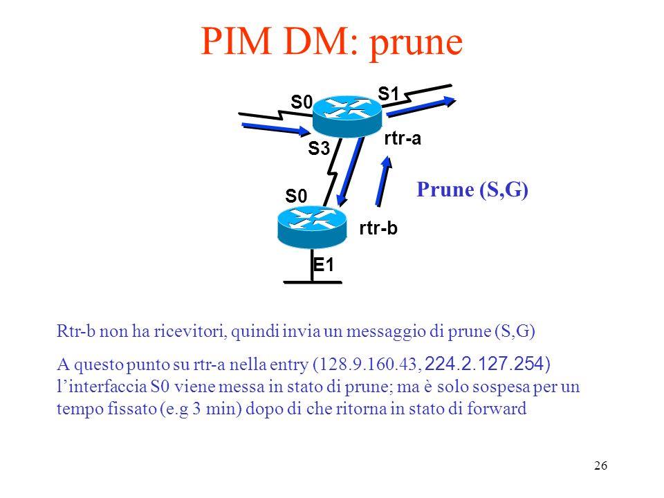 26 PIM DM: prune S0 rtr-a rtr-b S1 E1 S0 S3 Rtr-b non ha ricevitori, quindi invia un messaggio di prune (S,G) A questo punto su rtr-a nella entry (128.9.160.43, 224.2.127.254) linterfaccia S0 viene messa in stato di prune; ma è solo sospesa per un tempo fissato (e.g 3 min) dopo di che ritorna in stato di forward Prune (S,G)