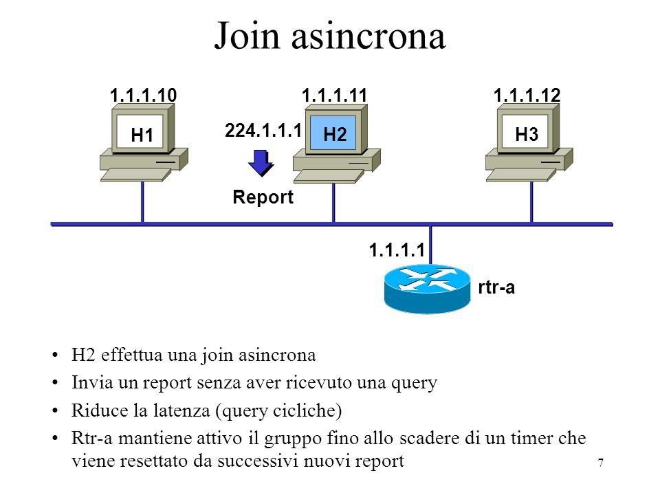 28 PIM SM: Forwarding E0 S0 rtr-a rtr-b Shared Tree Pacchetti Multicast (128.9.160.1, 224.1.1.1) S1 E0 E1 Nel protocollo Sparse mode il check RPF usa: lindirizzo del RP, nel caso di shared trees lindirizzo sorgente nel caso di shortest-path tree Source Tree Pacchetti Multicast ( 128.9.160.43, 224.1.1.2) RP (10.1.5.1) Tabella di routing unicast Route Intfc 10.1.5.0/24 10.1.5.0/24 S0 10.1.2.0/24 E0 128.9.0.0/16 128.9.0.0/16 S1