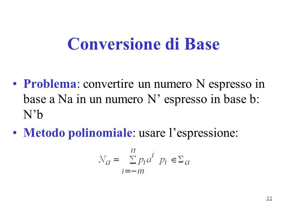 22 Conversione di Base Problema: convertire un numero N espresso in base a Na in un numero N espresso in base b: Nb Metodo polinomiale: usare lespress