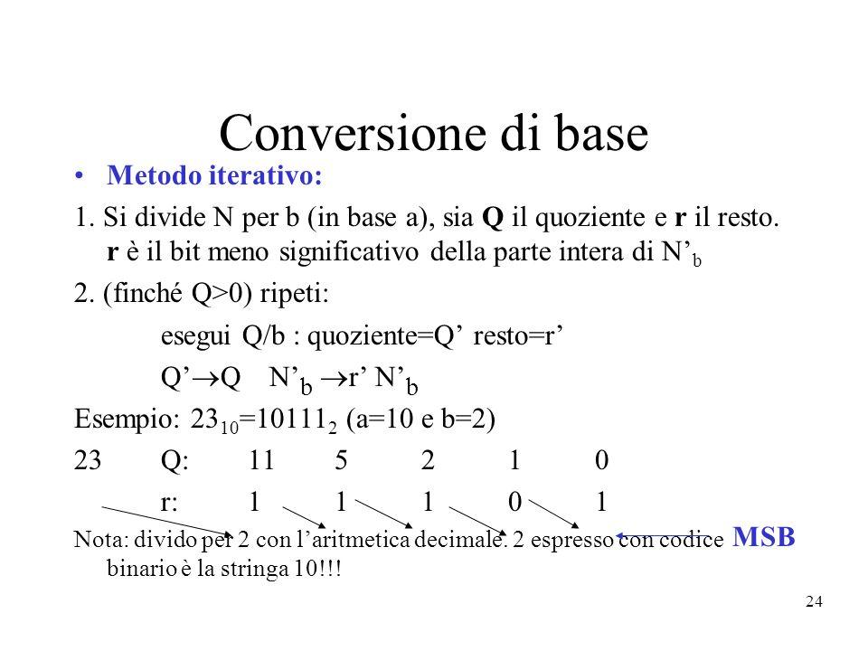 24 Conversione di base Metodo iterativo: 1. Si divide N per b (in base a), sia Q il quoziente e r il resto. r è il bit meno significativo della parte