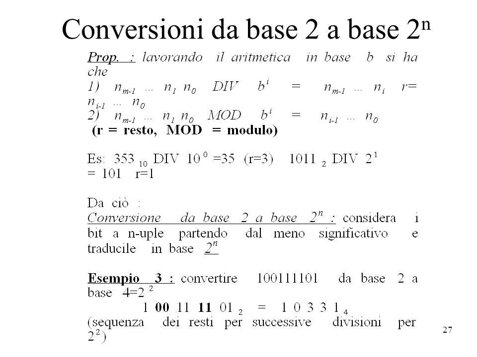 27 Conversioni da base 2 a base 2 n