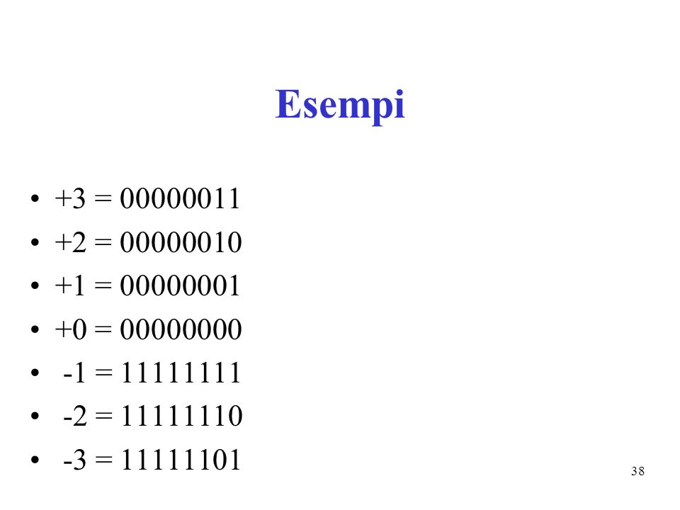 38 Esempi +3 = 00000011 +2 = 00000010 +1 = 00000001 +0 = 00000000 -1 = 11111111 -2 = 11111110 -3 = 11111101