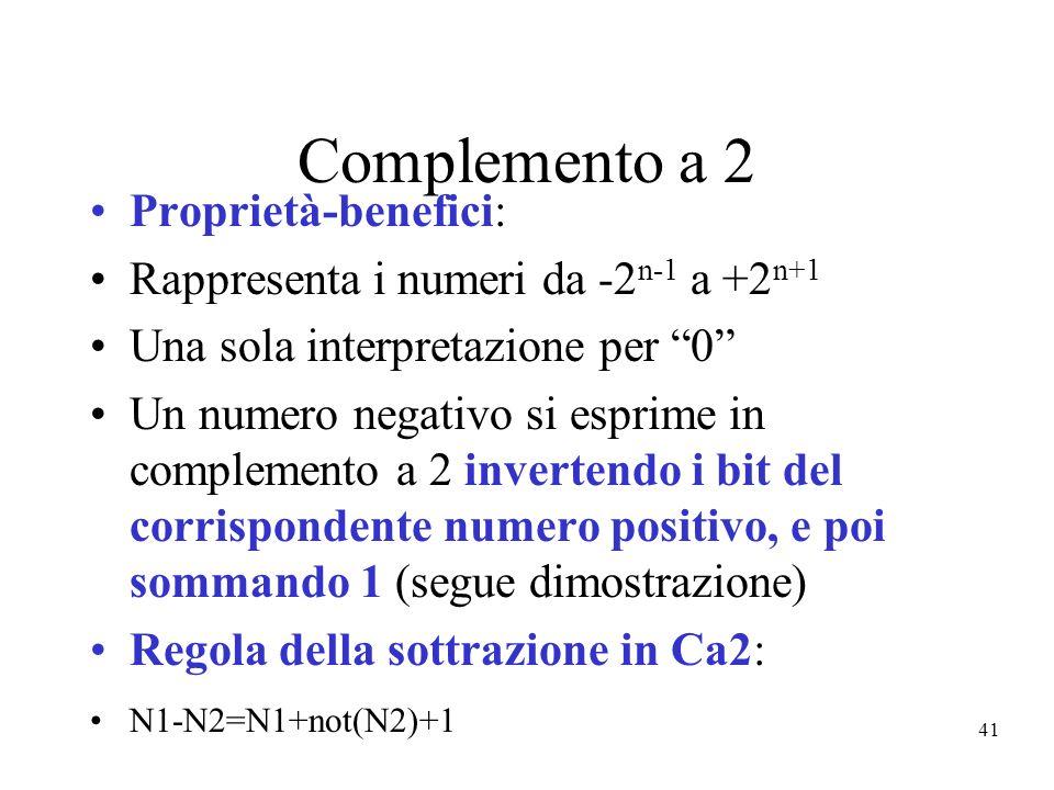 41 Complemento a 2 Proprietà-benefici: Rappresenta i numeri da -2 n-1 a +2 n+1 Una sola interpretazione per 0 Un numero negativo si esprime in complem