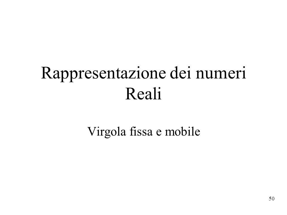 50 Rappresentazione dei numeri Reali Virgola fissa e mobile