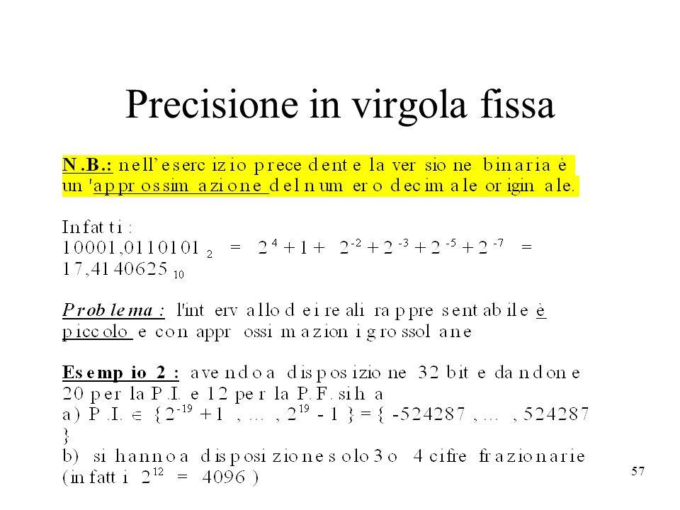 57 Precisione in virgola fissa