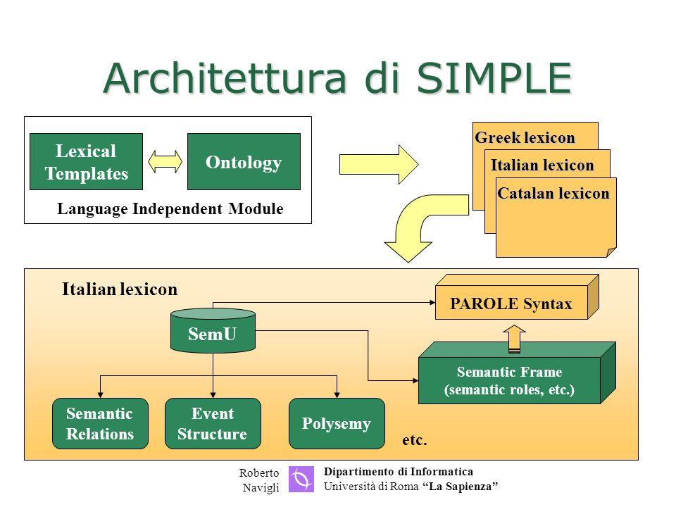 Dipartimento di Informatica Università di Roma La Sapienza Roberto Navigli Architettura di SIMPLE Italian lexicon etc.