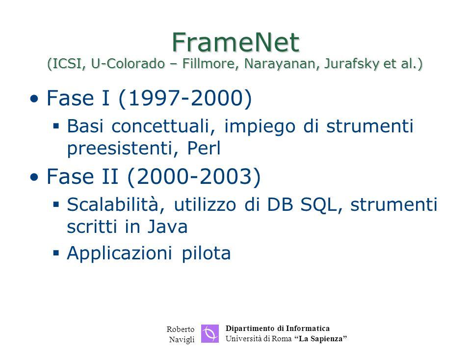 Dipartimento di Informatica Università di Roma La Sapienza Roberto Navigli FrameNet (ICSI, U-Colorado – Fillmore, Narayanan, Jurafsky et al.) Fase I (1997-2000) Basi concettuali, impiego di strumenti preesistenti, Perl Fase II (2000-2003) Scalabilità, utilizzo di DB SQL, strumenti scritti in Java Applicazioni pilota