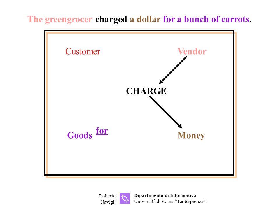 Dipartimento di Informatica Università di Roma La Sapienza Roberto Navigli CustomerVendor GoodsMoney CHARGE for The greengrocer charged a dollar for a bunch of carrots.